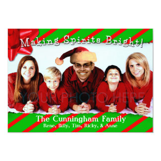 Ripped Wrapping Paper Family Christmas 5x7 Paper Invitation Card