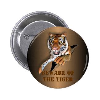 Ripping Tiger Design Pinback Button