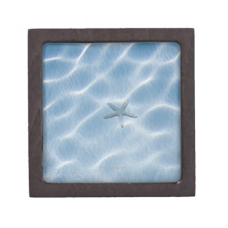 Rippled blue water with starfish jewelry box