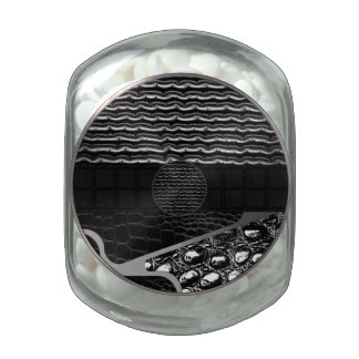 Rippled Leather Croc Texture Glass Candy Jar