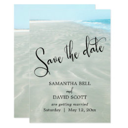 Rippled Sand Aqua Water Modern Beach Save the Date Card