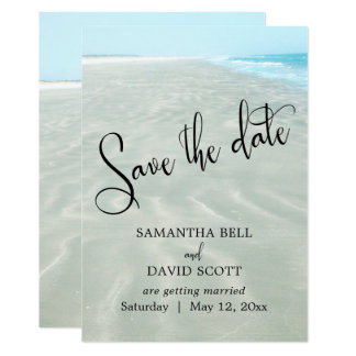 Rippled Sand Aqua Water Modern Beach Save the Date Card