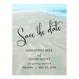 Rippled Sand Aqua Water Modern Beach Save the Date Postcard