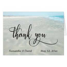 Rippled Sand Aqua Water Photo Beach Thank You Card