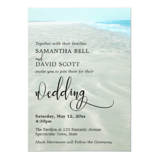 Rippled Sand Aqua Water Photo Modern Beach Wedding Card