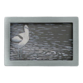 Ripples and a Avocet in contrast Belt Buckles