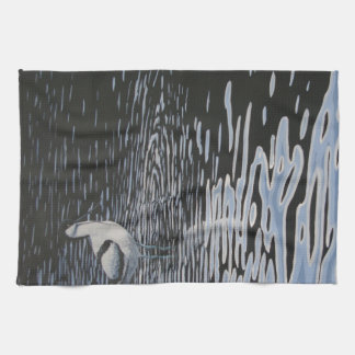 Ripples and a Avocet in contrast Kitchen Towel