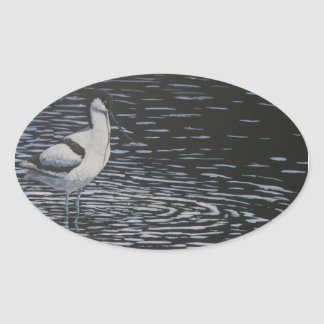 Ripples and a Avocet in contrast Oval Sticker