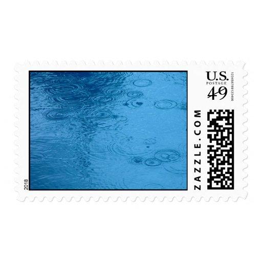 Ripples Form Rain On Puddle Postage Stamp
