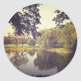 Ripples in a Pond, Central Park, New York City Classic Round Sticker