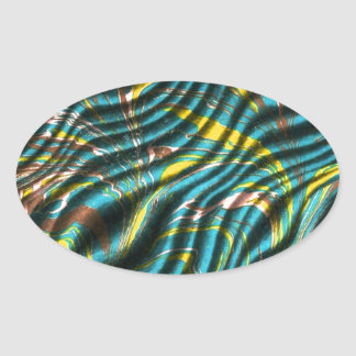 Ripples of Green and Blue Oval Sticker