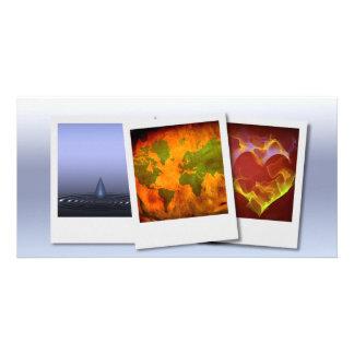 Ripples world heart photo card template