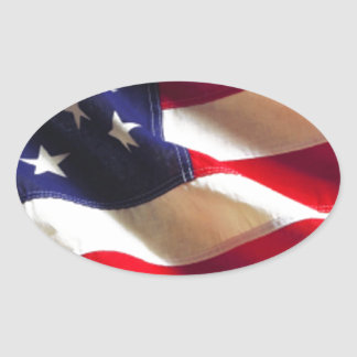Rippling American Flag Oval Sticker
