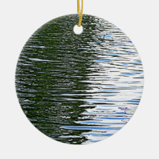 Rippling Water Double-Sided Ceramic Round Christmas Ornament