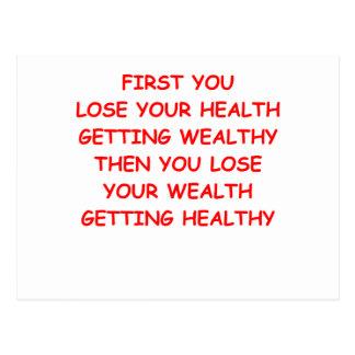 riqueza de la salud tarjetas postales