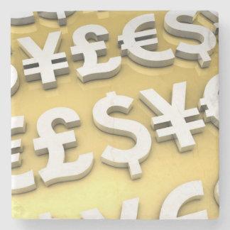 Riqueza de las finanzas internacionales del oro de posavasos de piedra