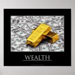 Riqueza - lingotes de oro y notas del dólar impresiones