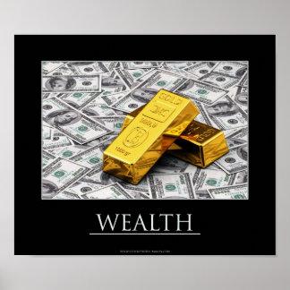 Riqueza - lingotes de oro y notas del dólar póster