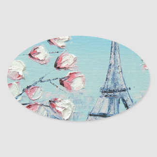 ris Spring Painting, Eiffel Tower Cherry Blossoms Oval Sticker