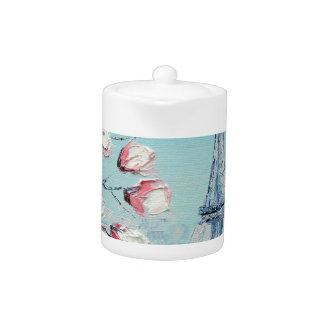 ris Spring Painting, Eiffel Tower Cherry Blossoms Teapot