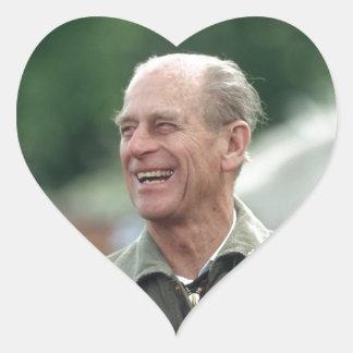 Risa de príncipe Philip de HRH Pegatina En Forma De Corazón