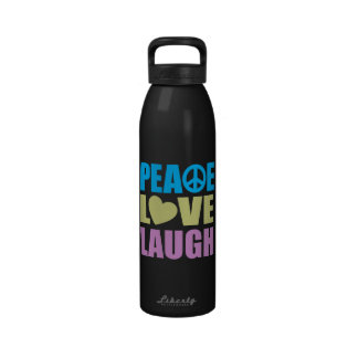 Risa del amor de la paz botella de agua
