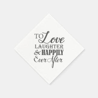 Risa del amor feliz nunca después de casar la servilletas de papel