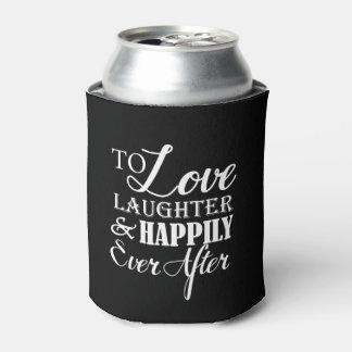 Risa del amor feliz nunca después de casarse enfriador de latas