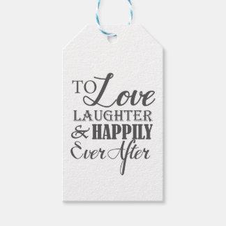 Risa del amor feliz nunca después de casarse etiquetas para regalos