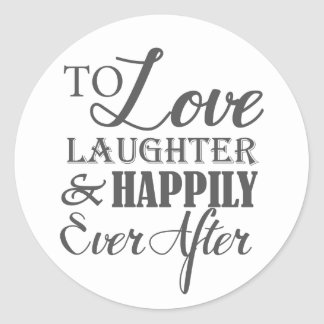 Risa del amor feliz nunca después de casarse pegatina redonda