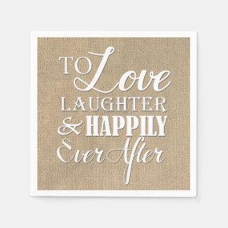 Risa del amor feliz nunca después del boda de la servilletas de papel