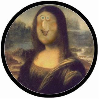 Risa divertida de Mona Lisa de la cara Fotoescultura Vertical