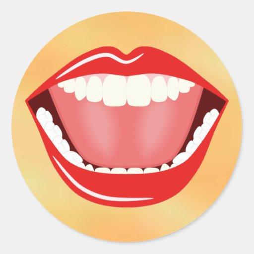 Risa fresca divertida de la boca grande alrededor pegatinas redondas
