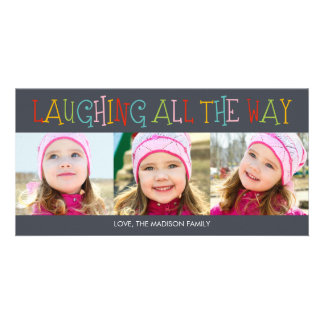 Risa hasta el final de la tarjeta de la foto del d plantilla para tarjeta de foto