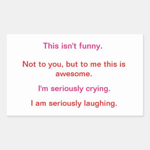 Risa/que llora rectangular pegatinas