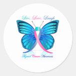 Risa viva del amor de la mariposa de la tiroides etiquetas redondas
