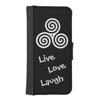 risa viva del amor del espiral triple blanco funda tipo billetera para iPhone 5