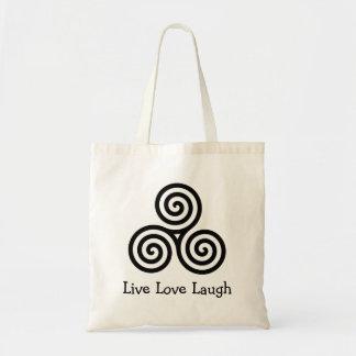 Risa viva del amor del espiral triple bolsas lienzo