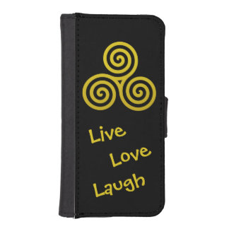 Risa viva del amor del espiral triple del oro billetera para teléfono