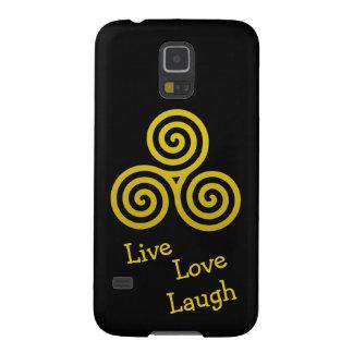 Risa viva del amor del espiral triple del oro carcasas para galaxy s5