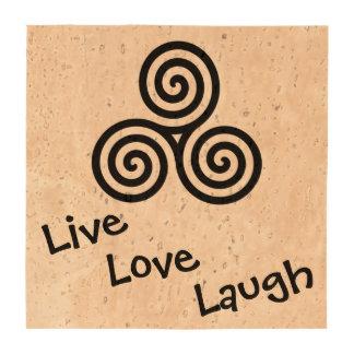 Risa viva del amor del espiral triple negro posavasos