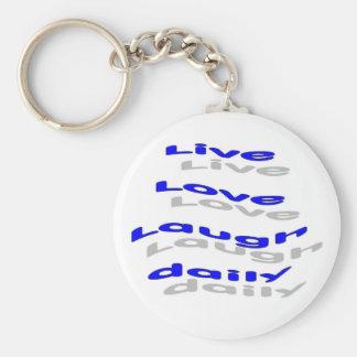 Risa viva del amor diaria - azul llaveros