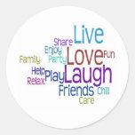 Risa viva del amor etiqueta redonda