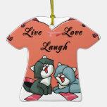 Risa viva Kittys del amor Ornamentos Para Reyes Magos