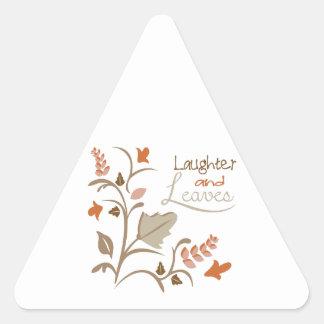 Risa y hojas pegatinas triangulo
