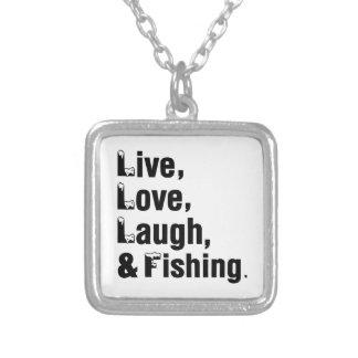 Risa y pesca vivas del amor colgante cuadrado