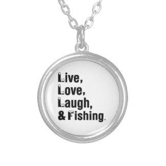 Risa y pesca vivas del amor colgante redondo