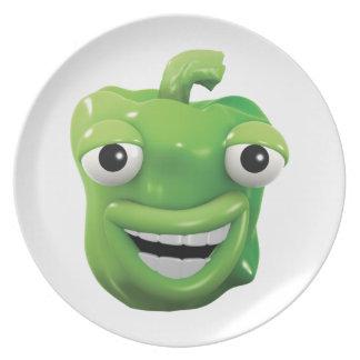 ¡risas de la pimienta verde 3d! plato