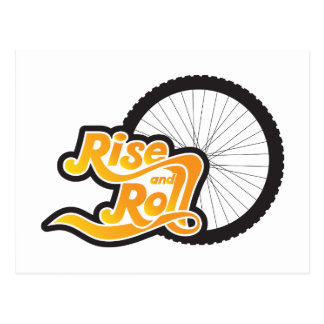rise and roll cyclist postcard