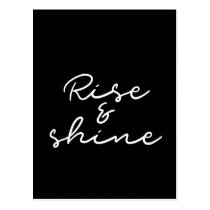 Rise and shine black postcard